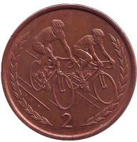 Велоспорт. Монета 2 пенса. 1996 год, Остров Мэн.