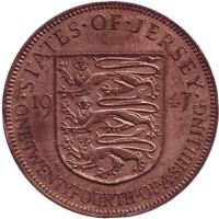 Монета 1/24 шиллинга, 1947 год, Джерси.