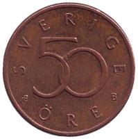 Монета 50 эре. 2000 год, Швеция.