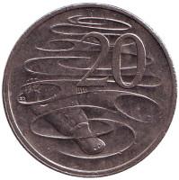 Утконос. Монета 20 центов. 2001 год, Австралия.
