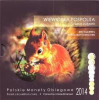 Белка. Набор монет Польши в буклете (9 штук), 2014 год, Польша.