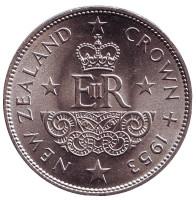 Монета 1 крона. 1953 год, Новая Зеландия.