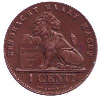 Монета 1 сантим. 1902 год, Бельгия. (Der Belgen)