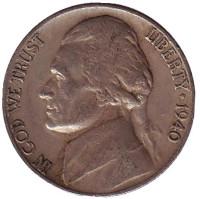 Джефферсон. Монтичелло. Монета 5 центов. 1940 год (D), США.