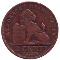 Монета 2 сантима. 1912 год, Бельгия. (Der Belgen)