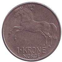 Лошадь. Монета 1 крона. 1971 год, Норвегия.