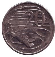 Утконос. Монета 20 центов. 2014 год, Австралия.