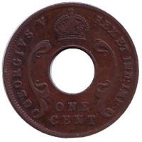 Монета 1 цент. 1922 год (H), Восточная Африка.