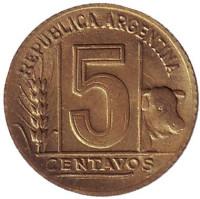 Монета 5 сентаво. 1949 год, Аргентина.
