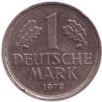 Монета 1 марка. 1979 год (F), ФРГ. Из обращения.
