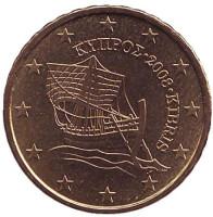 Монета 10 центов. 2008 год, Кипр.