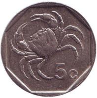 Краб. Монета 5 центов. 1991 год. Мальта.