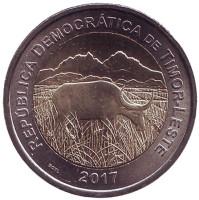 Буйвол. Монета 200 сентаво. 2017 год, Восточный Тимор.