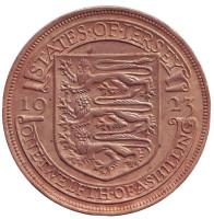 Монета 1/12 шиллинга. 1923 год, Джерси. (Испанский щит)