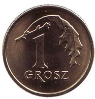 Дубовый лист. Монета 1 грош. 2018 год, Польша.