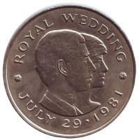 Свадьба Принца Чарльза и Леди Дианы. Монета 2 фунта. 1981 год, Джерси.