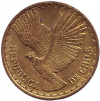 Кондор. Монета 5 чентезимо. 1967 год, Чили.