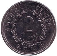 Монета 2 колона. 1982 год, Коста-Рика.