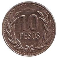 Монета 10 песо. 1989 год, Колумбия. Новый тип.