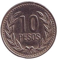 Монета 10 песо. 1993 год, Колумбия.