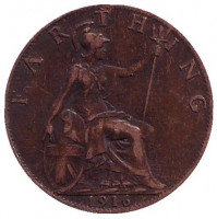 Монета 1 фартинг. 1916 год, Великобритания.