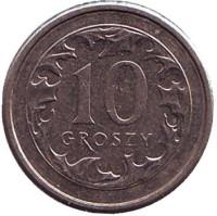 Монета 10 грошей. 2010 год, Польша.
