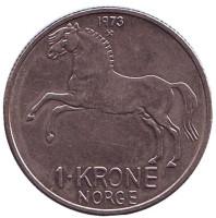 Лошадь. Монета 1 крона. 1973 год, Норвегия.