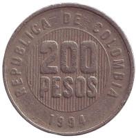 Монета 200 песо. 1994 год, Колумбия.