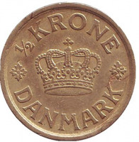 Монета 1/2 кроны. 1925 год, Дания.