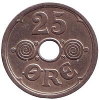 Монета 25 эре. 1929 год, Дания.