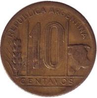 Монета 10 сентаво. 1945 год, Аргентина.