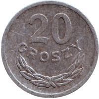 """Монета 20 грошей. 1973 год, Польша. (Отметка монетного двора """"MW"""")"""