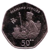 Бриллиантовый юбилей правления Елизаветы II. Монета 50 пенсов, 2012 год, Остров Мэн.