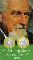 25 лет присуждению Нобелевской премии Конраду Лоренцу. Монета 50 шиллингов. 1998 год, Австрия. (в буклете).
