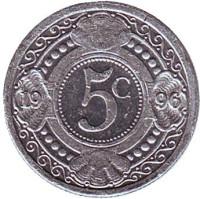 Цветок апельсинового дерева. Монета 5 центов, 1996 год, Нидерландские Антильские острова.