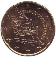 Монета 20 центов. 2008 год, Кипр.