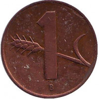 Монета 1 раппен. 1969 год, Швейцария.