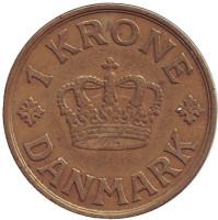 Монета 1 крона. 1940 год, Дания.