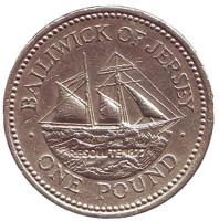 """Шхуна """"Резолют"""". Монета 1 фунт. 1997 год, Джерси."""