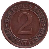Монета 2 рентенпфеннига. 1924 год (J), Веймарская республика.