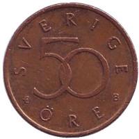 Монета 50 эре. 2002 год, Швеция.