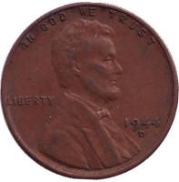 Линкольн. Монета 1 цент. 1944 год (D), США.