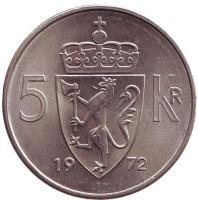 Монета 5 крон. 1972 год, Норвегия.