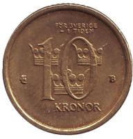 Монета 10 крон. 2001 год, Швеция.