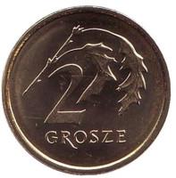 Дубовые листья. Монета 2 гроша. 2018 год, Польша.