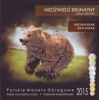 Бурый медведь. Набор монет Польши в буклете (9 штук), 2015 год, Польша.
