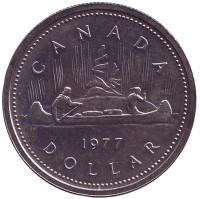 Индейцы в каноэ. Монета 1 доллар. 1977 год, Канада.