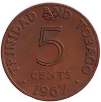 Монета 5 центов. 1967 год, Тринидад и Тобаго.