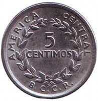 Монета 5 сантимов. 1967 год, Коста-Рика.