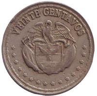 Монета 20 сентаво. 1964 год, Колумбия.